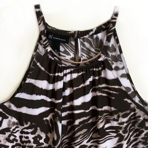 INC International Concepts Tops - INC Halter Tank Top Sleeveless Brown Animal Large